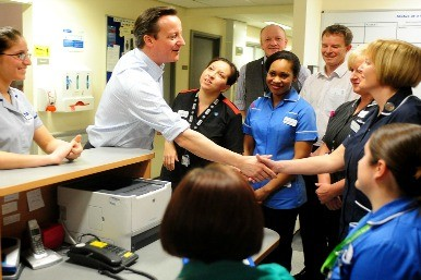 David Cameron and NHS staff