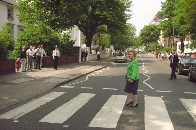 Margaret Thatcher on Abbey Road crossing