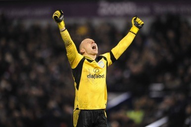 Villa goalkeeper celebrates