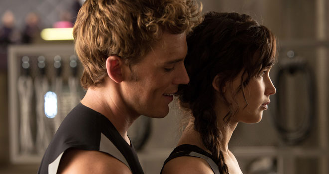 Sam Claflin and Jennifer Lawrence in 'Hunger Games: Catching Fire'