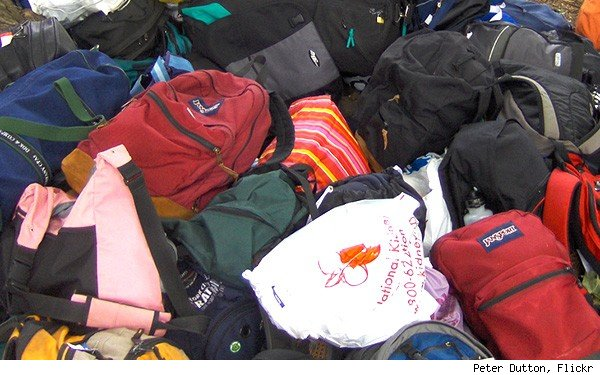 pile of backpacks