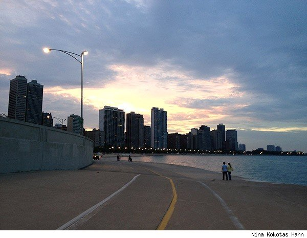 Chicago Lakefront Trail at dusk
