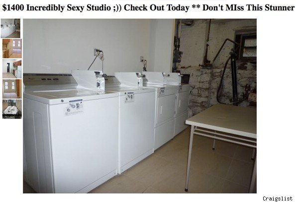 'Sexy' apartment ad shows laundry room.