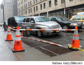 Hell's Kitchen steam and Con Edison traffic cones