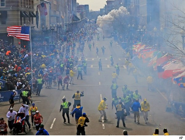 Boston Marathon bomb explosion