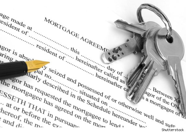 mortgage document, pen and house keys