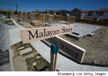 temporary street signs in front of new construction homes in San Ramon, California,