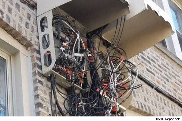 home inspection found this tangled cable tv box