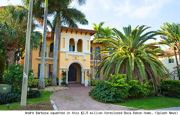Andre Barbosa squatted in this $2.5 million foreclosed Boca Raton home. (Splash News)