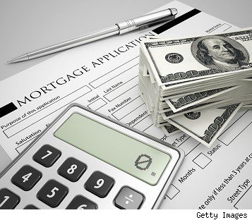 mortgage application, calculator and stack of money