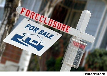 home foreclosure for sale yard sign