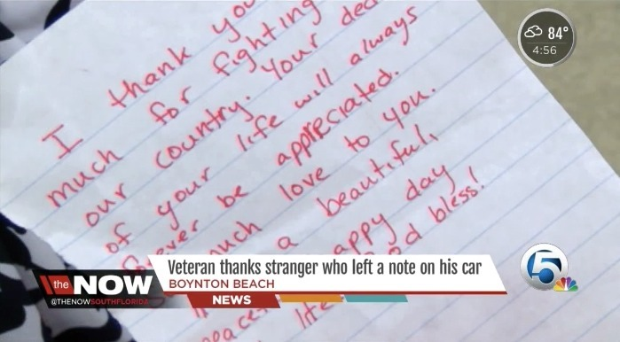 Vietnam veteran touched by kind note left on his car aol news altavistaventures Images
