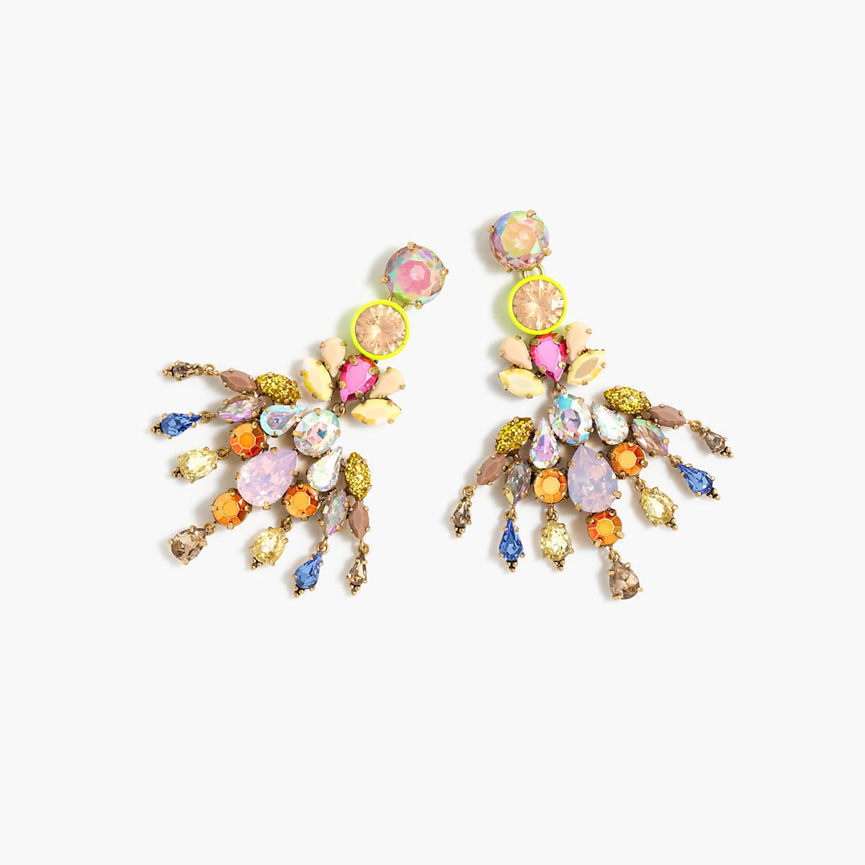Jews familiar style staples made fresh for 2016 springsummer j crew colorful crystal chandelier earrings arubaitofo Images