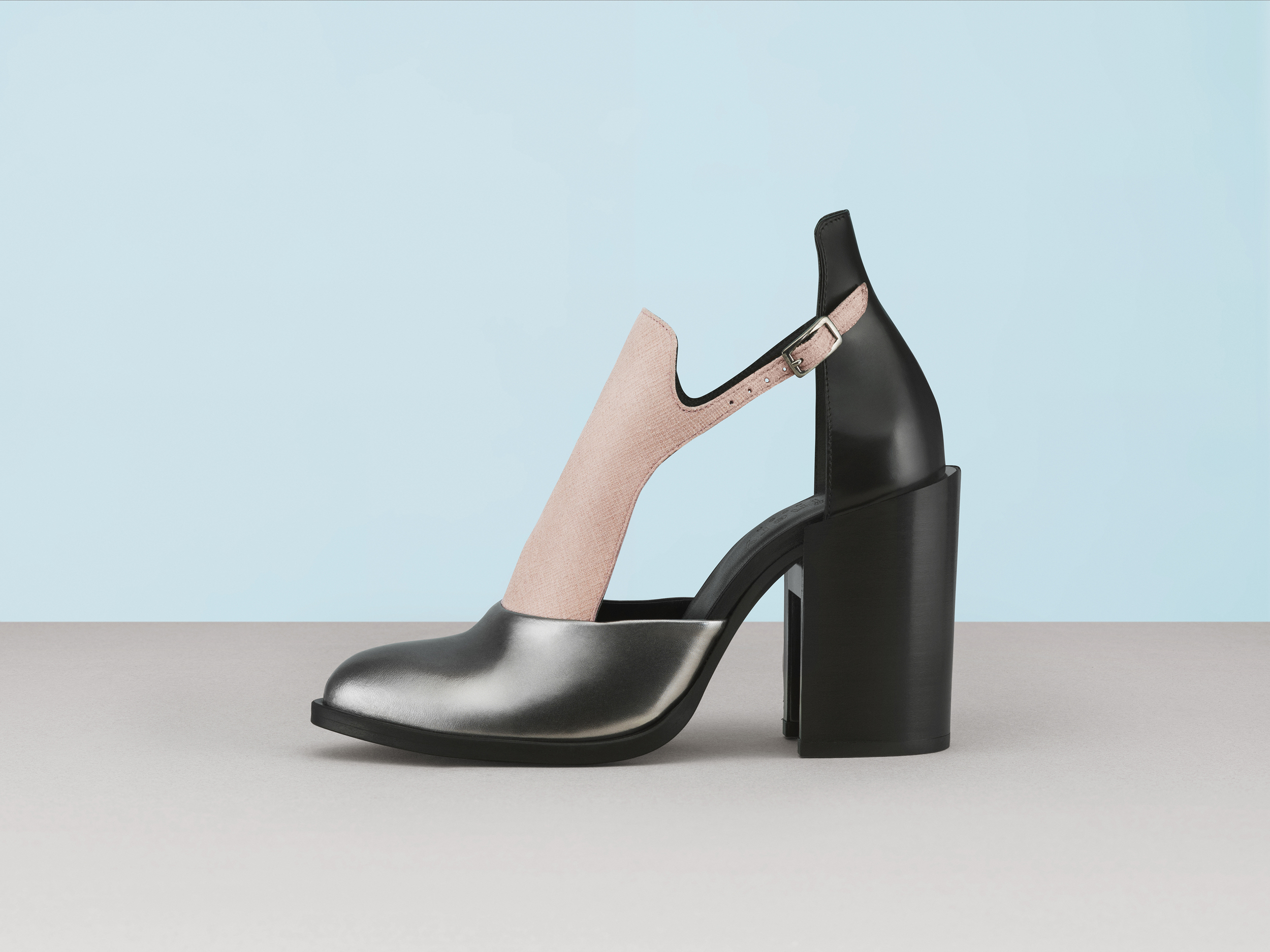 Lotus Leather High Heel Open Shoes