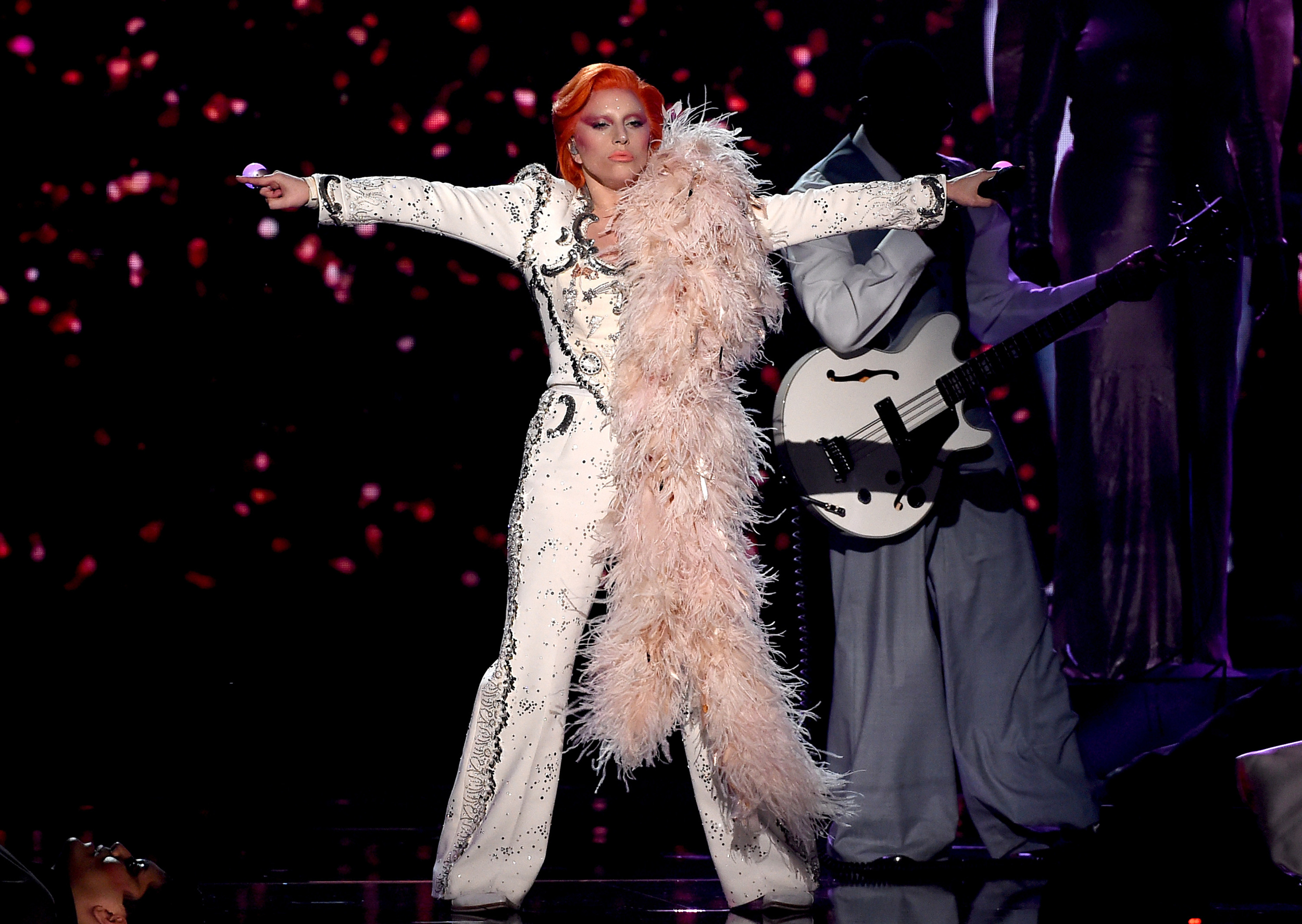 da35badd3 Lady Gaga commands stage with David Bowie tribute at Grammy Awards ...