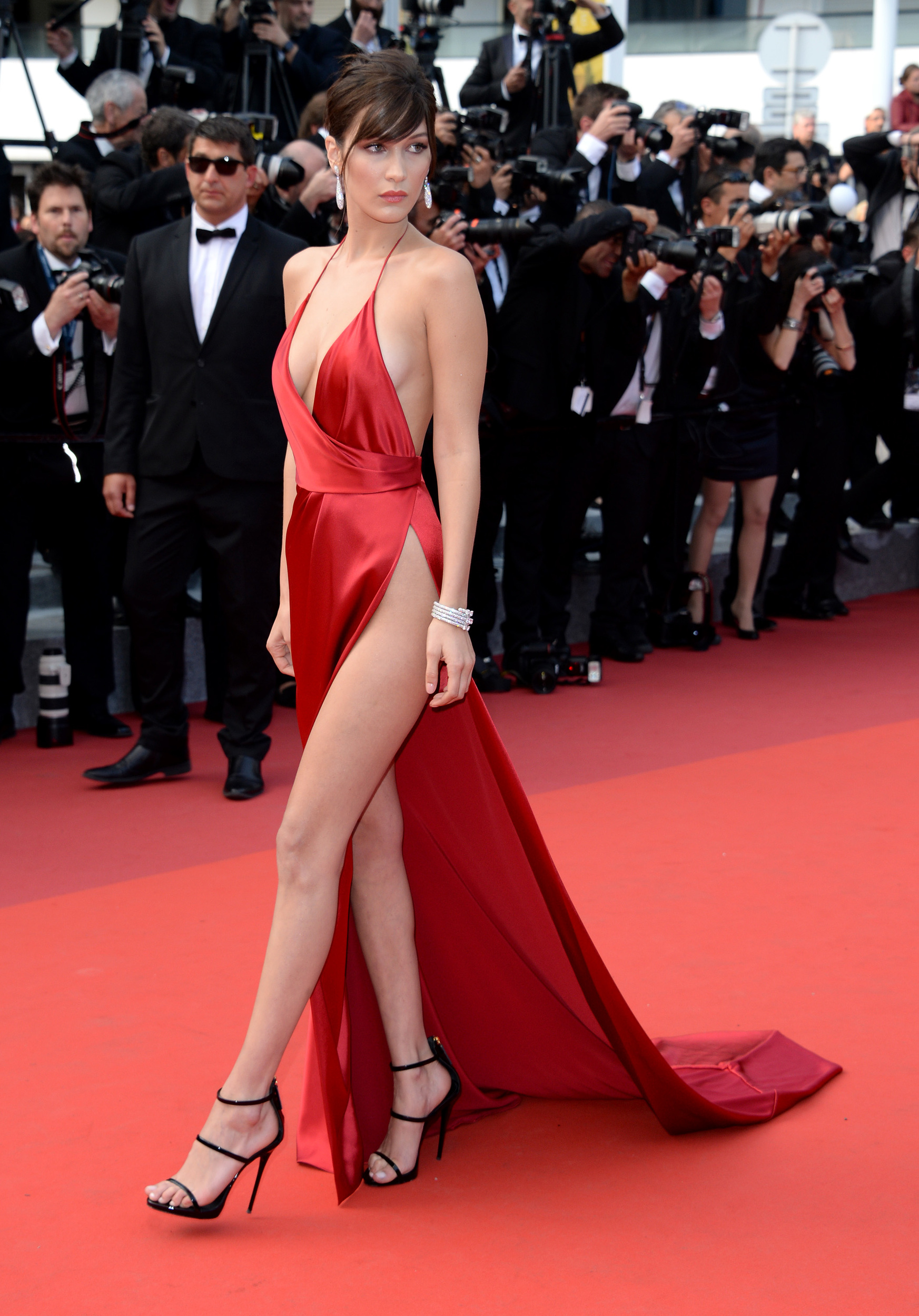 61dc7e03397b Bella Hadid suffers wardrobe malfunction in revealing red dress at Cannes  2016 - AOL Entertainment