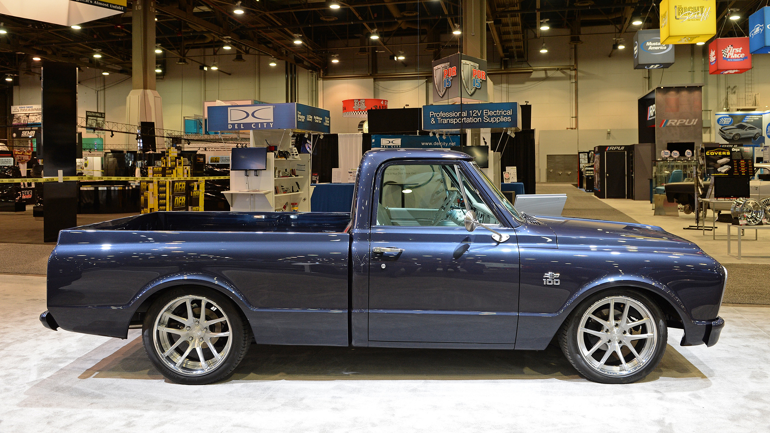 This '67 Chevy C10 is a blue and silver centennial ...