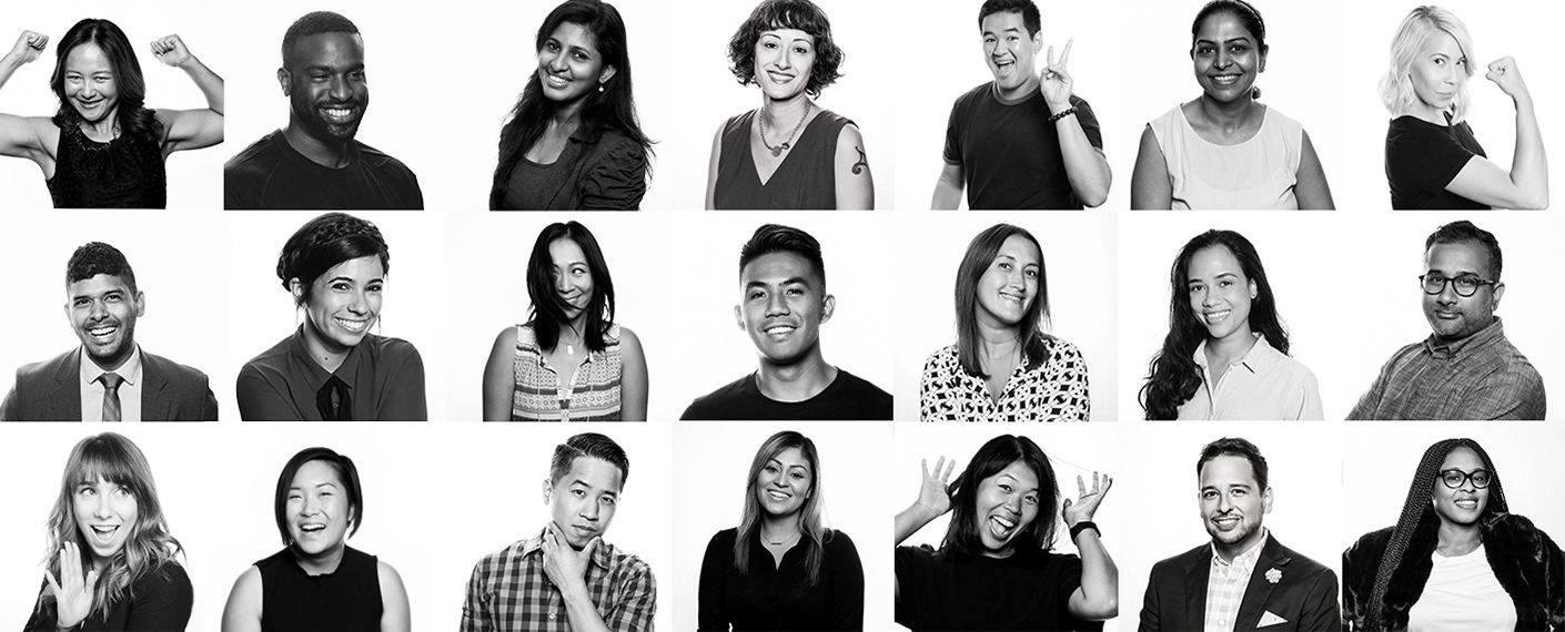 Various portraits of employees and Employee Resource Group (ERG) members.