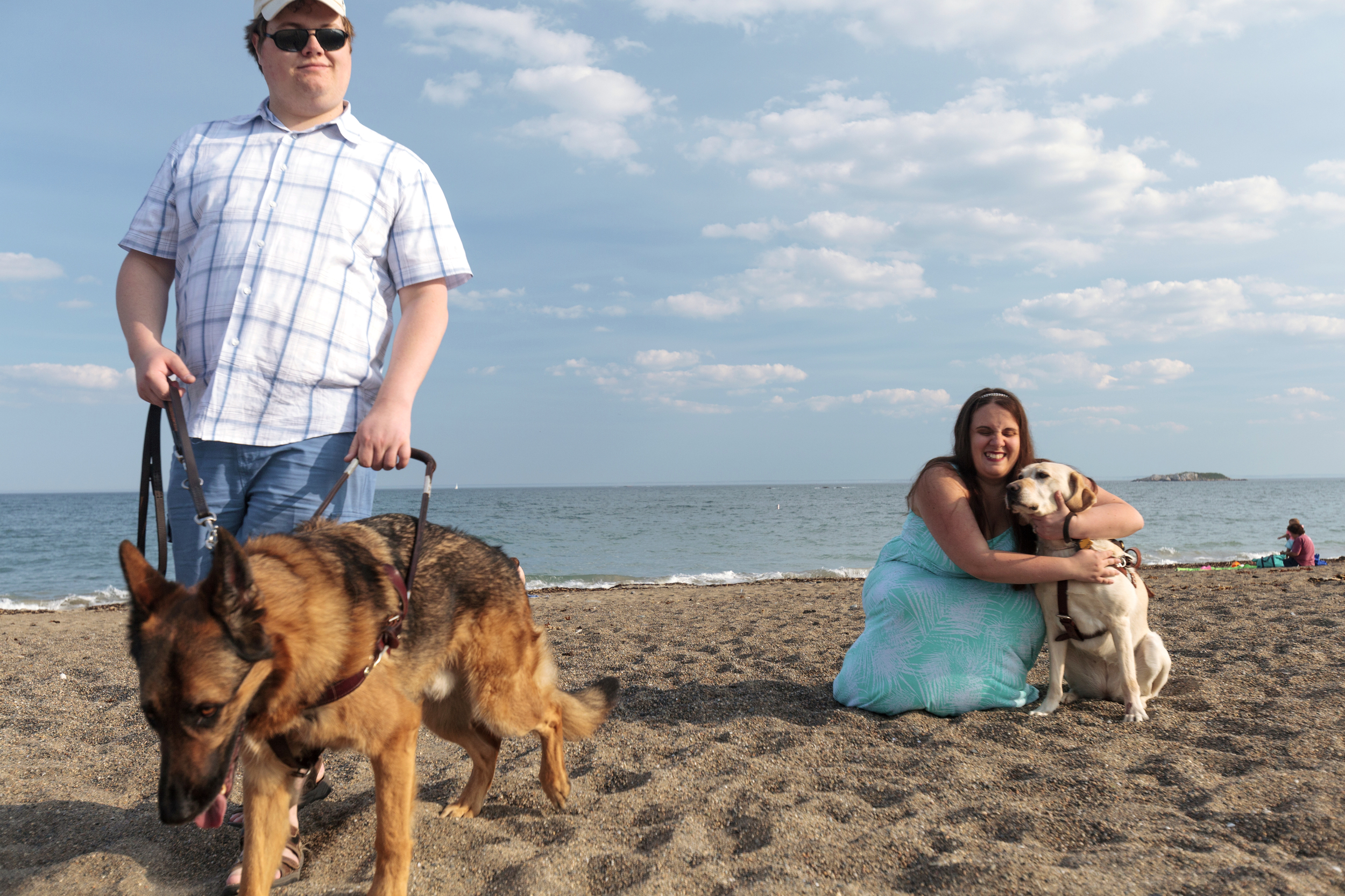 A blind couple enjoying the beach with their guide dogs.