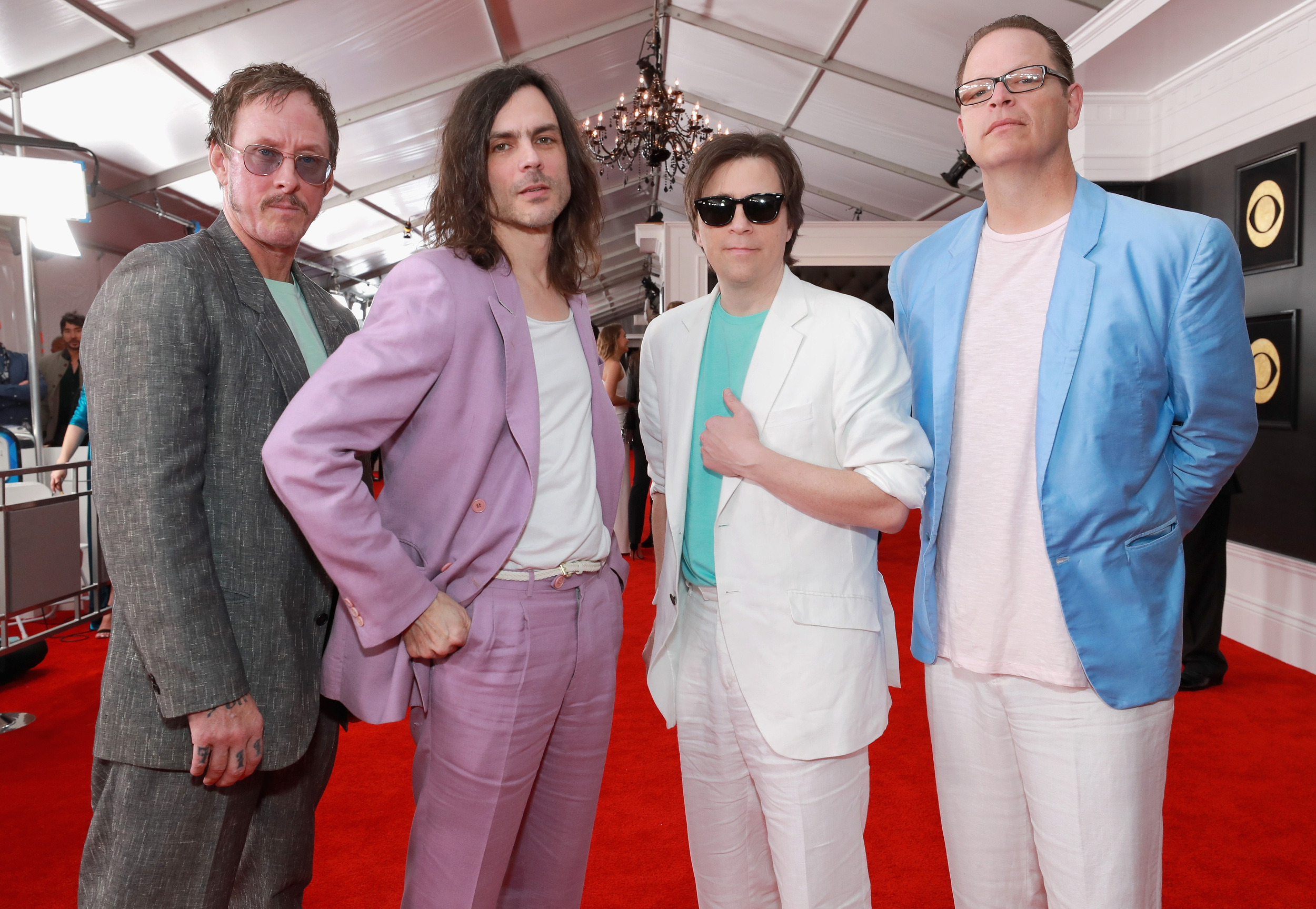 "Every member of Weezer is dressed like they re playing a drug dealer on ""Miami Vice."""