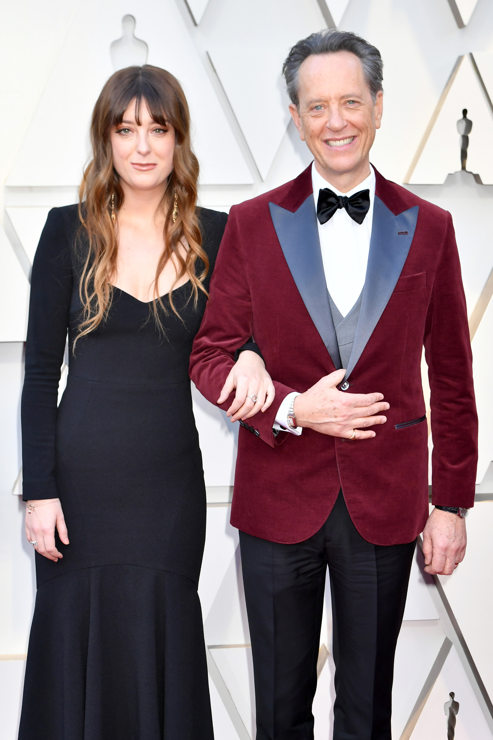 Character actor Richard E. Grant (here with his daughter Olivia Grant) is nominated for the first time tonight. He s been positively delightful during the whole awards season, and this jacket is no exception.