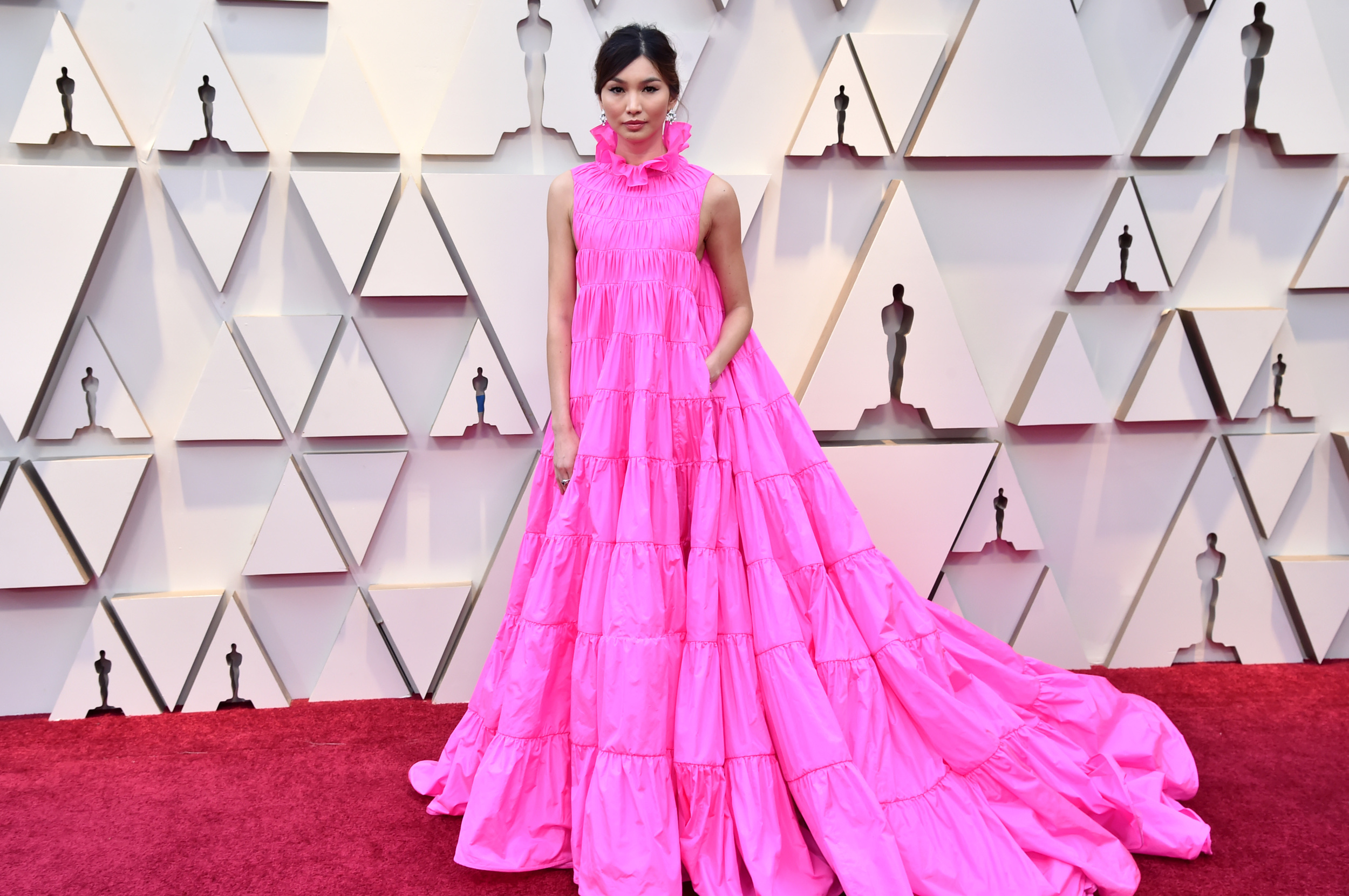 "Sorry, Gemma Chan, but this just looks like a less-successful imitation of J.Lo s ""Second Act"" premiere dress."