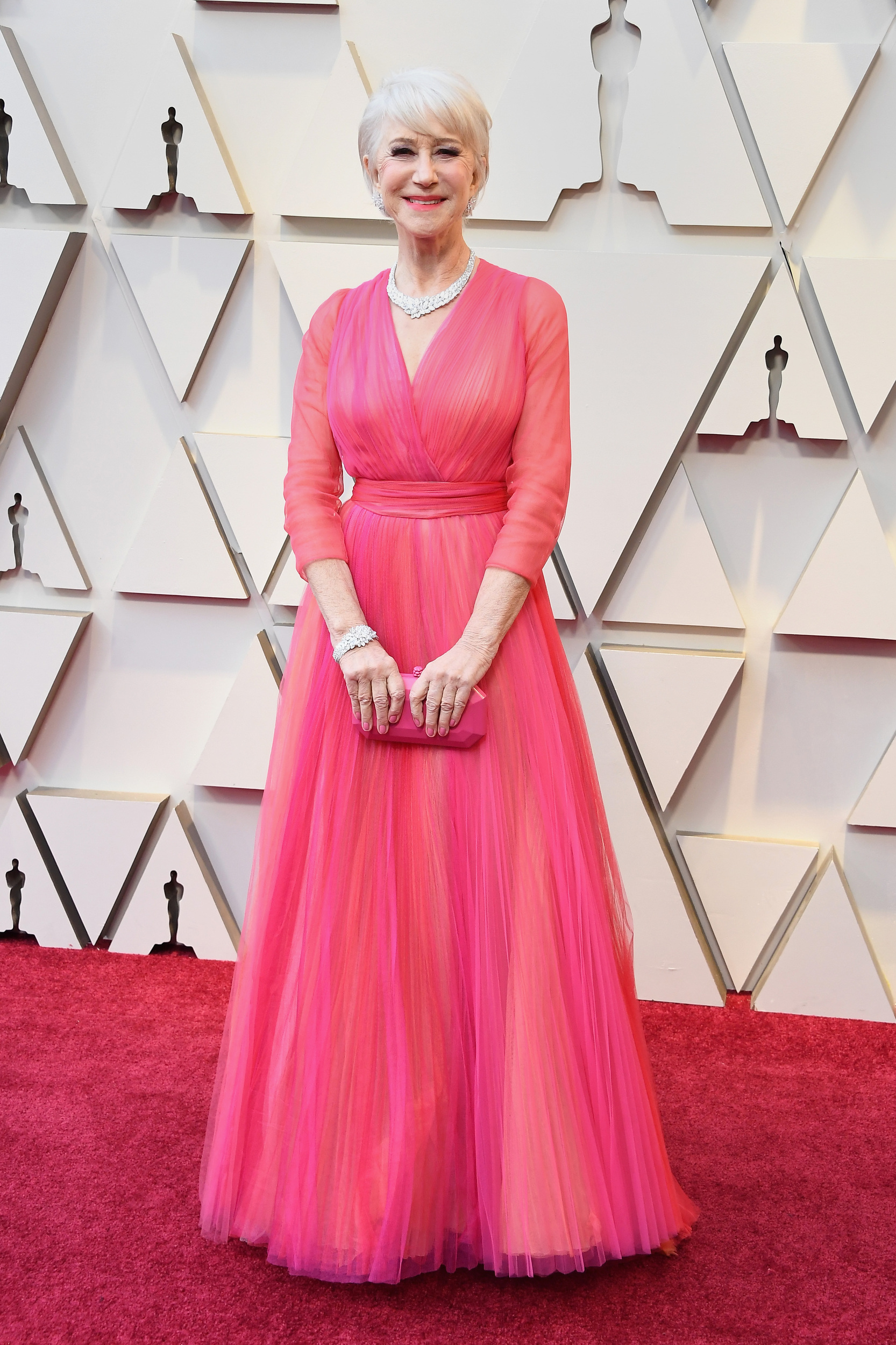 "There are lots of pink gowns tonight, some more successful than others. Helen Mirren, OBVIOUSLY, is on ""flawless"" list."