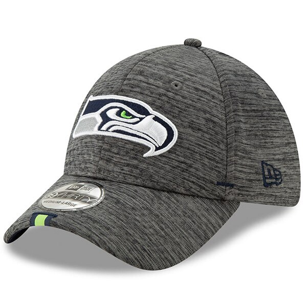 4ce689062 Men's Seattle Seahawks New Era Graphite 2019 NFL Training Camp 39THIRTY  Flex Hat