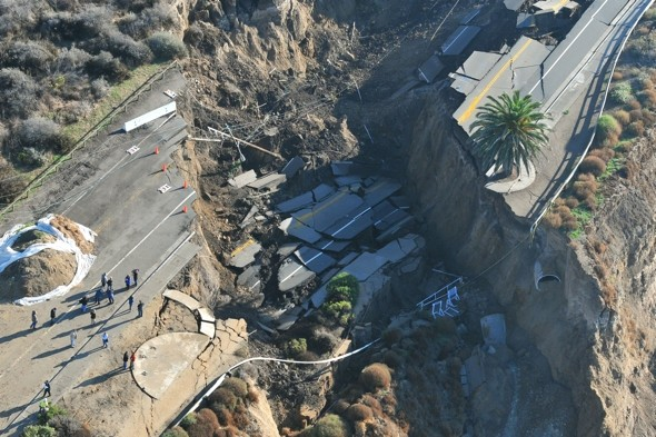 Scenic coastal LA road disappears into the Pacific Ocean after storm