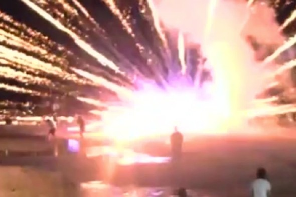 Video: Panic as beach fireworks explode in Thailand resort