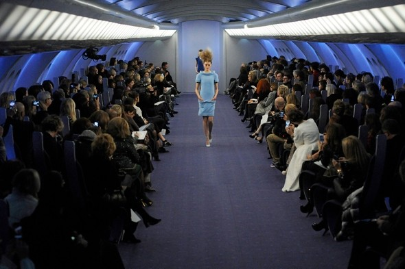 Plane stylish! Models board 'Air Chanel' for Couture runway show in Paris