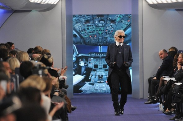Plane stylish! Models board 'Air Chanel' for Couture runway show