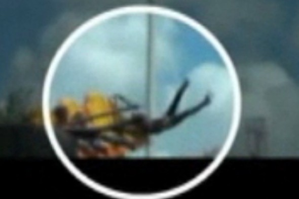 Video: Terrifying moment girl, 3, is thrown off fairground ride