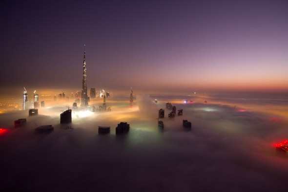 The city in the sky: Dubai fog creates amazing skyscraper images