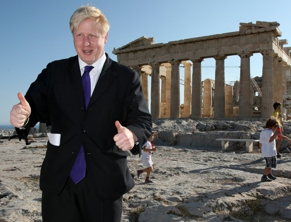 Boris jets to Athens on gold plane to pick up Olympic torch