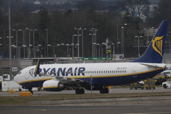 Ryanair flight delayed as airport worker crashes steps into plane
