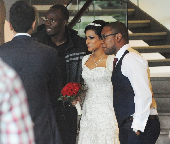 Usain Bolt joins couple's five-star UK hotel wedding pics