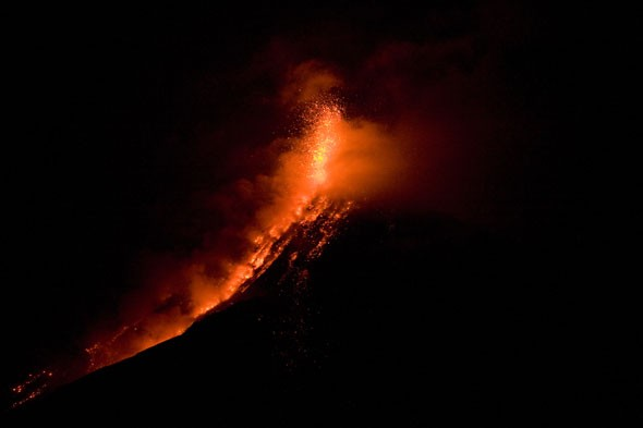 The Fuego volcano in central Guatemala is erupting, shooting lava and columns of ash into the air.