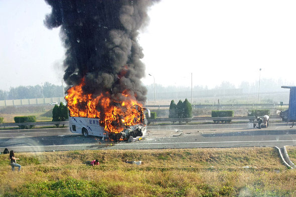 Six Killed After Tourist Bus Crashes Into Lorry And Bursts