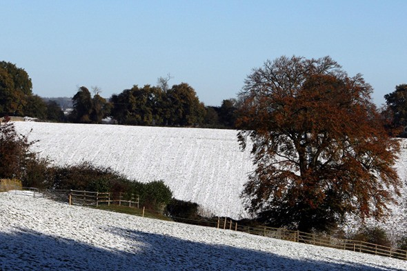 Three inches of snow falls in the west of England