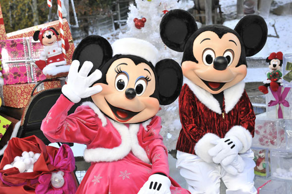 Mickey and Minnie Mouse enjoying Christmas at Disneyland Paris