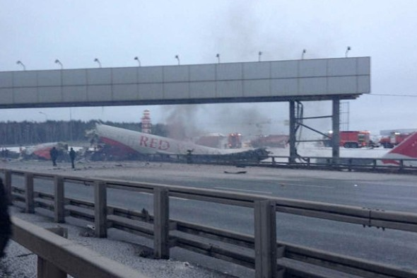Video: Plane crashes into road near Moscow Airport, killing at least four people