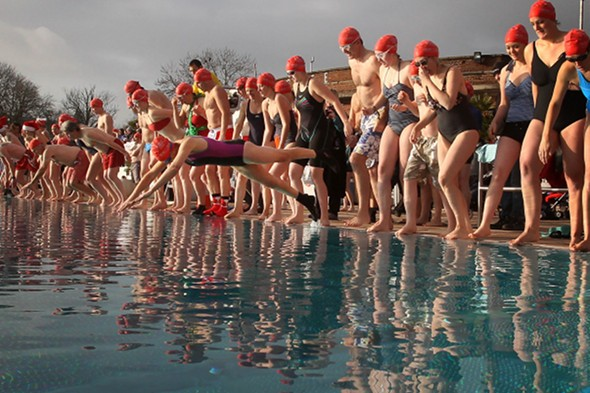 Swimmers take part in the London December Dip