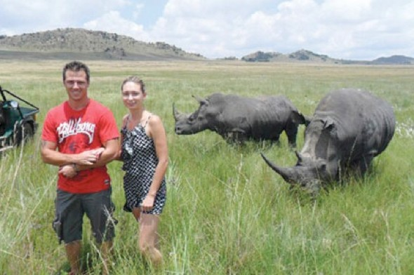 Woman gored by rhino seconds after taking this photo on safari holiday