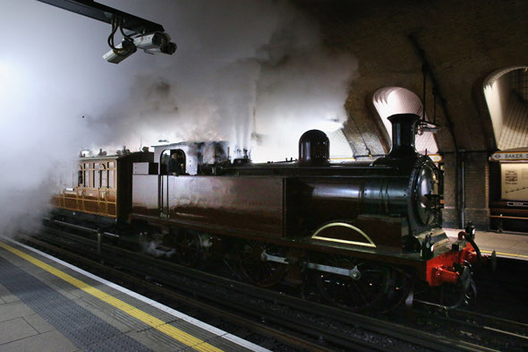 Steam train travels on tube line to mark 150th anniversary of underground