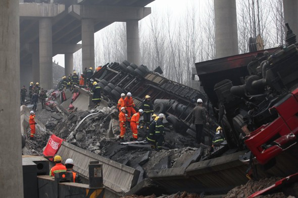 Fireworks truck explosion destroys motorway and kills 26 people in China