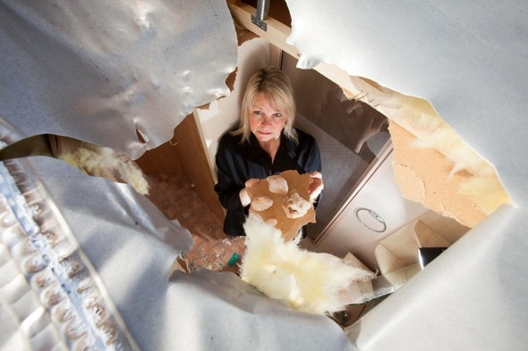 Iced Wee: Woman's caravan ruined as plane drops lump of frozen waste through its roof