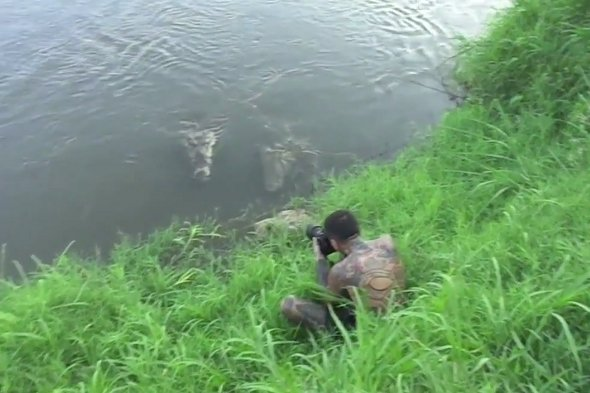 Video: Photographer almost gets eaten by crocodile