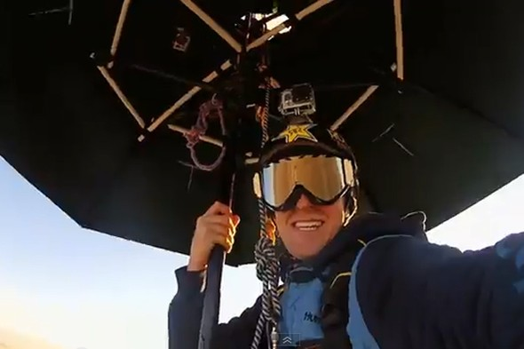 Extreme athlete attempts Mary Poppins-style skydive using REAL umbrella