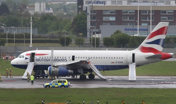 Heathrow runways shut after BA plane 'on fire' makes emergency landing